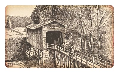 Ilustration of Covered Bridge on Paper